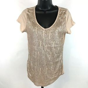 Ann Taylor LOFT l Top Sequins Beads Small Peach